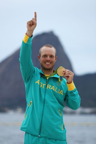 AUSSIE GOLD!!! Tom Burton of Australia celebrates winning the gold medal in the Men's Laser class on Day 11 of the Rio 2016 Olympic Games at the Marina da Gloria on...