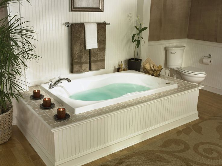 Fascinating Jetted Tub For Bathroom Remodel: Jacuzzi Bathtub And Beadboard  Tub Surround With Votive Candle Also Jetted Tub And Towel Bar With  Wainscoting ... Part 47