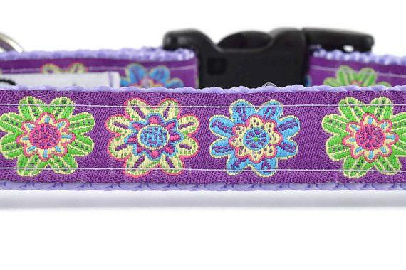 Purple Flowers Dog Collar and Leash, purple dog collar, pretty dog collar, girly dog collar, cute dog collar, dog collar for girls, floral