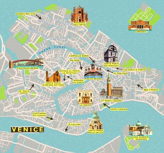 City Map of Venice using structured lines as well as curves