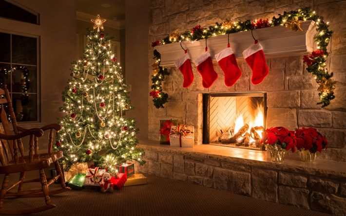 Download wallpapers Christmas tree, fireplace, evening, New Year, Christmas, interior, gifts, garland, xmas