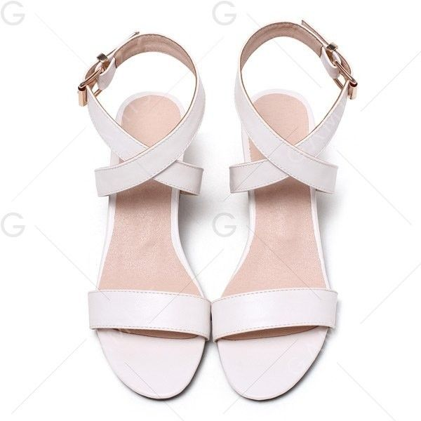 Mid Heel Buckle Strap Sandals (190 GTQ) ❤ liked on Polyvore featuring shoes, sandals, gamiss, flats, flat shoes, white sandals, white flat shoes, mid-heel shoes and flats sandals