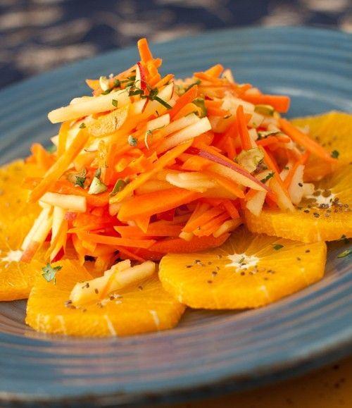 hued jumble of fresh, juicy produce: Carrot, Apple, and Orange Salad ...