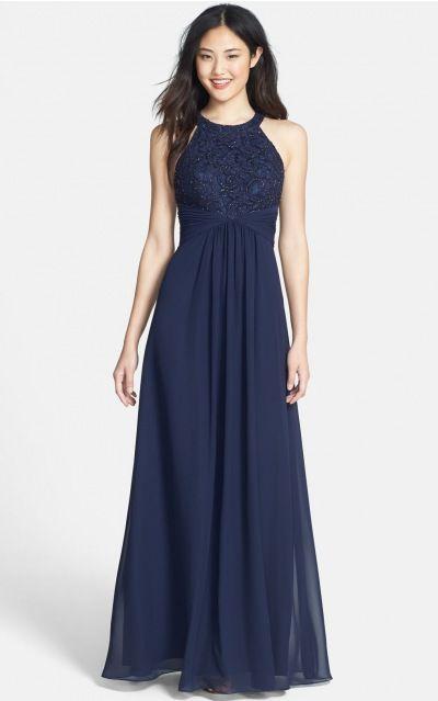 Chiffon Jewel Natural A-line Floor-length Bridesmaid Dresses 0190928