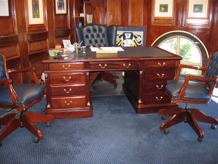 Georgian Solid Mahogany Partners Desk - Traditional Brown Mahogany