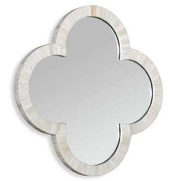 Cala Small Quatrefoil Global Coastal Cream Wall Mirror. #kathykuohome