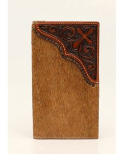 Rodeo Hair Hide with Tooled Leather Cross Wallet