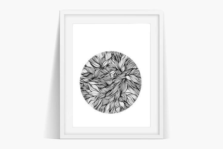 Circular Leaves Mosaic Art #nordic #blackandwhite