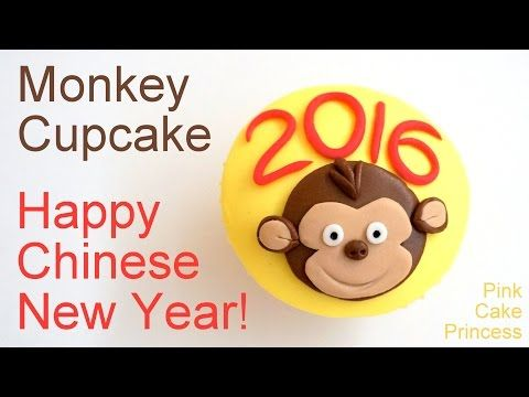 Chinese New Year 2016 Cupcakes - Monkey Cupcake How to by Pink Cake Princess - YouTube