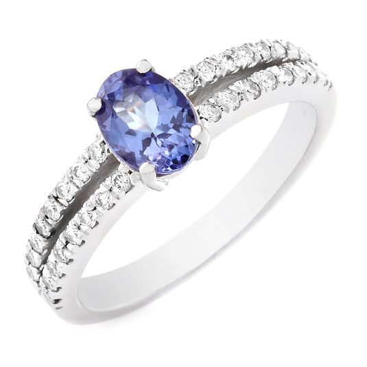 14 carat white gold tanzanite and diamond ring