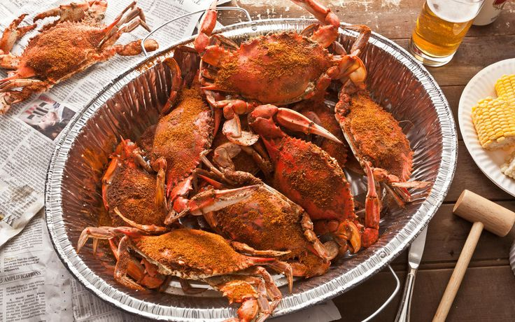 This recipe shows how to steam blue crabs in water and vinegar with plenty of Old Bay, and has helpful instructions for picking them clean.