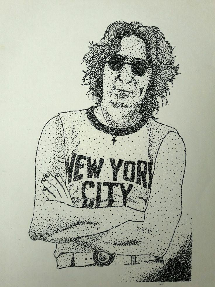 Ilustración puntillismo John Lennon