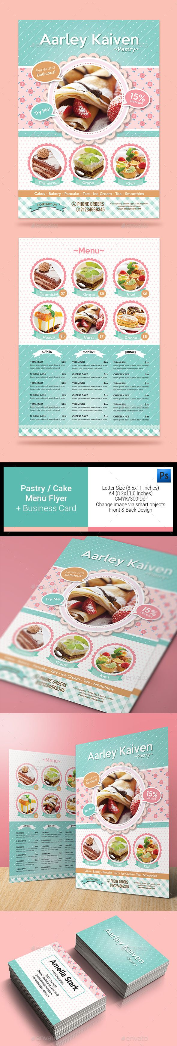 Pastry / Cake Flyer + Business Card Template #design Download: http://graphicriver.net/item/pastry-cake-flyer-business-card/13012931?ref=ksioks