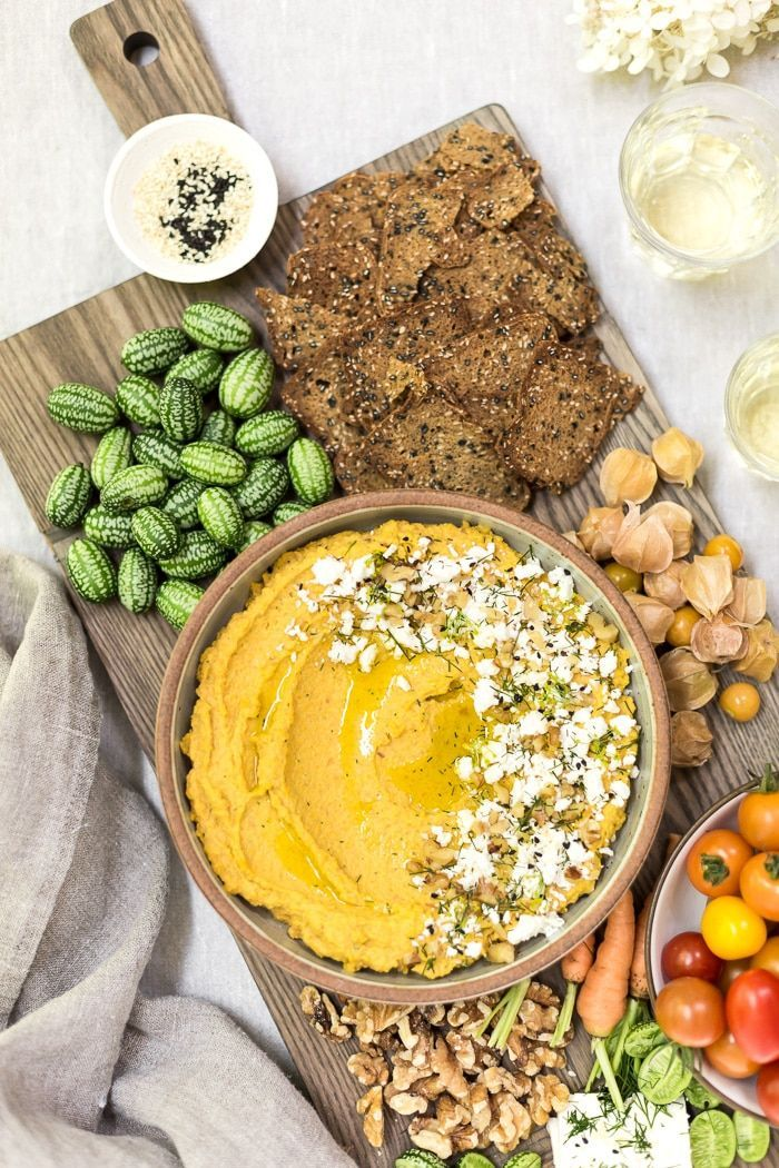 Recipe for Roasted Carrot Hummus with Feta, Dill and Walnuts  #vegetarian #recipe #dip #partyfood