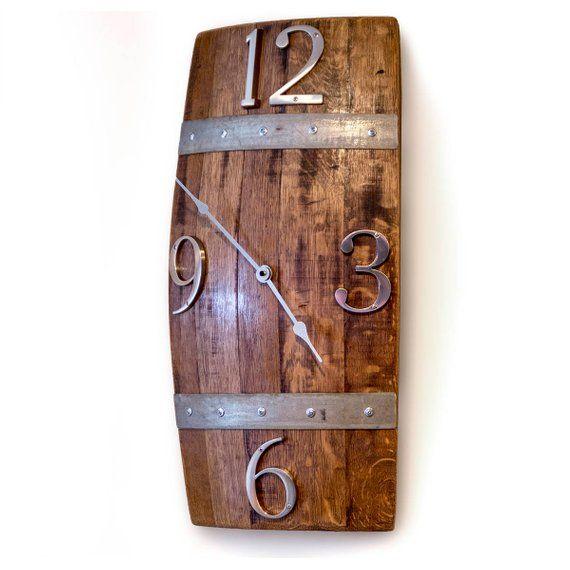Reclaimed Barrel Stave Wall Clock In 2020 Wine Barrel Furniture Wine Barrel Crafts Whiskey Barrel Furniture