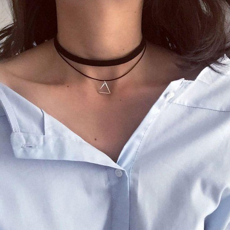 2016 European Fashion Retro Geometric Triangle Pendant Necklace Collar Collar Double Personality Simple Wholesale