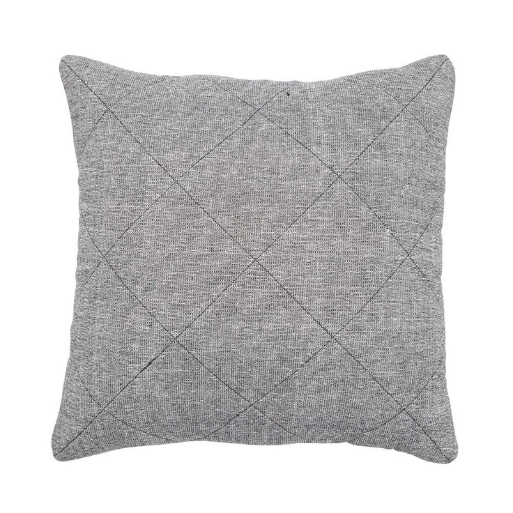 Grey Khadi Quilted Square Cushion