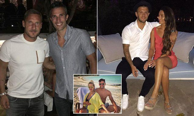 Footballers on holiday: Van Persie hangs out with Totti