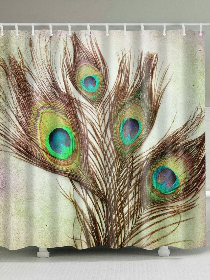 Peacock Feather Fabric Shower Curtain with Hooks - LIGHT BROWN W71 INCH * L79 INCH