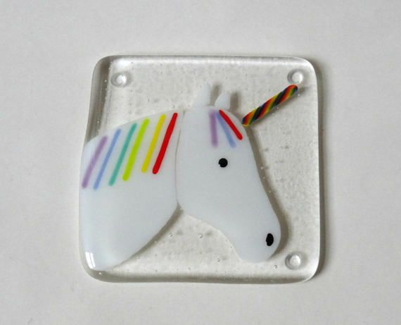 Unicorn coaster fused glass coaster fused glass unicorn
