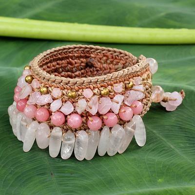 Rose quartz wristband bracelet, 'Thai Rose' - Beaded Crocheted Bracelet with Rose Quartz
