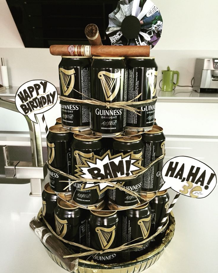 Comic & Guiness Beer can cake 30th birthday husband