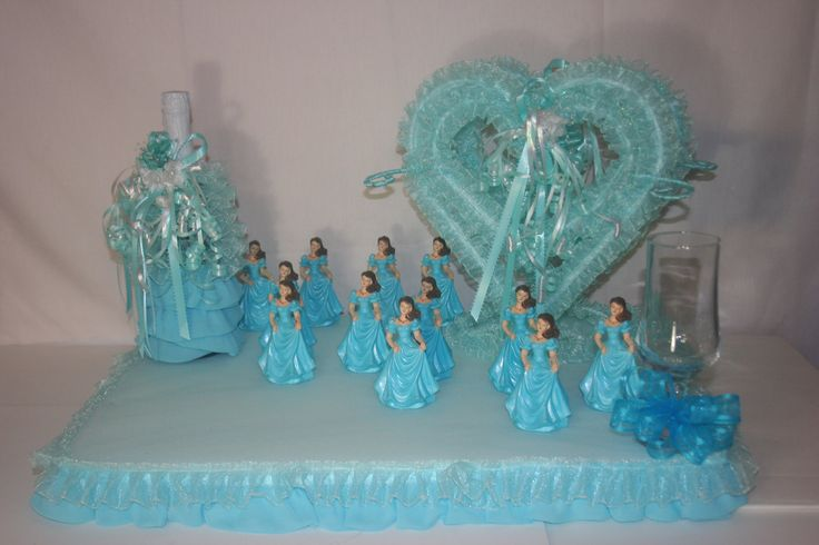 Aqua or turquoise quinceanera sweet sixteen centerpiece