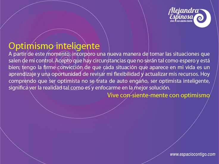 Optimismo Inteligente #Vive #ConSienteMente
