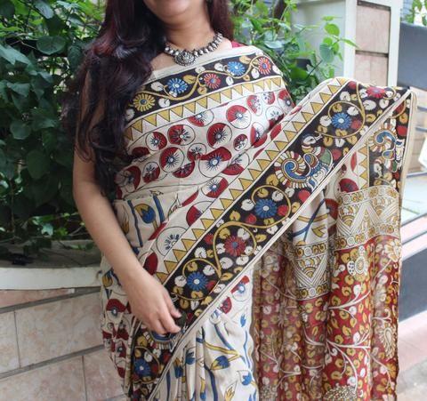 Fresh fruits Kalamkari designs in Habdloom cotton saree