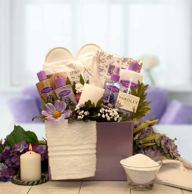 SPA INSPIRATIONS BATH & BODY GIFT BOX  http://basketsformymom.com/  Lavender shows love, understanding and gratitude. This beautiful spa treatment set is assembled in a sweet little gift box with lavender flora woven throughout.