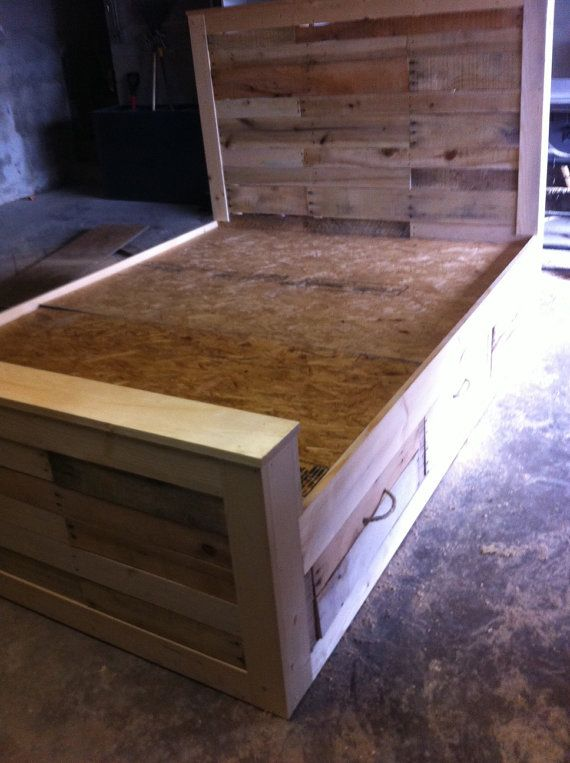 Best 25 bed frame with drawers ideas on pinterest bed for Pallet platform bed with storage