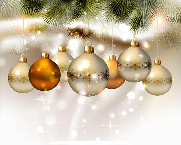 Shiny Ball with Christmas background vector graphics 01