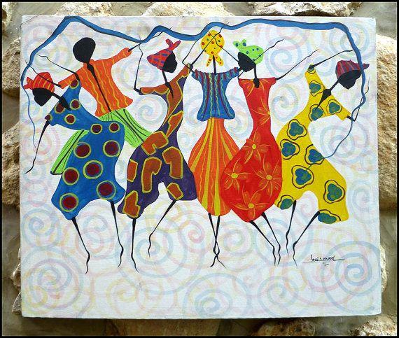 Haitian Women Dancing  Original Primative Art by TropicAccents, $39.95    Haitian art,  Canvas Painting, Haiti