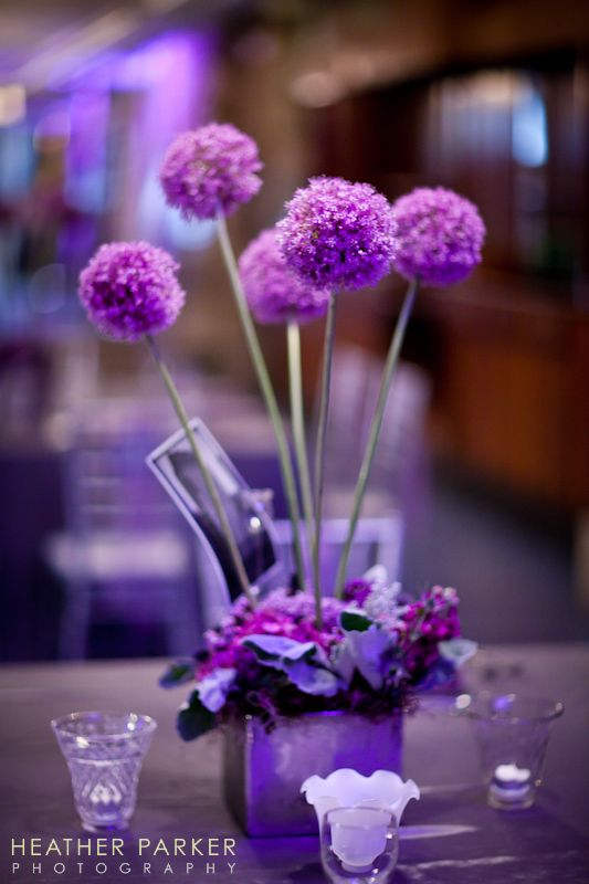 Allium flower centerpieces that are purple or lavender