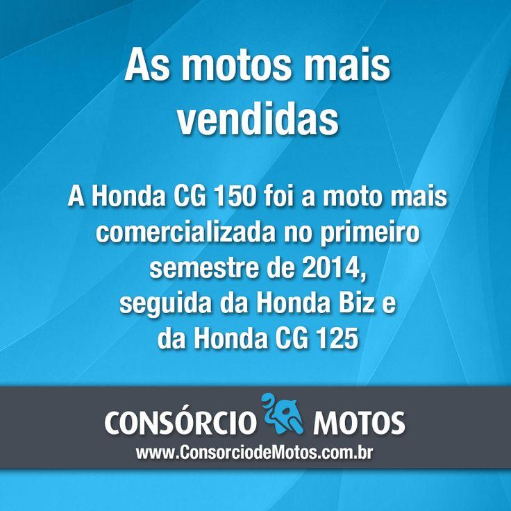 Acesse nossa matéria e veja o ranking completo com as motos mais vendidos do primeiro semestre de 2014: https://www.consorciodemotos.com.br/noticias/as-motos-mais-vendidas-no-brasil-no-1o-semestre-de-2014?idcampanha=288&utm_source=Pinterest&utm_medium=Perfil&utm_campaign=redessociais