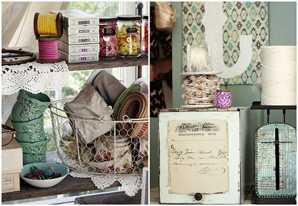 I adore this vintage style craft storage
