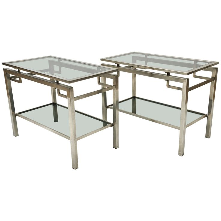 Pair of Mid-Century Modern French Guy Le Fevre Chrome Two-Tier Side Tables | From a unique collection of antique and modern side tables at https://www.1stdibs.com/furniture/tables/side-tables/