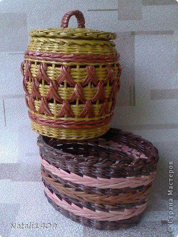 Поделка изделие Плетение Узор    Бумага газетная Трубочки бумажные фото 1