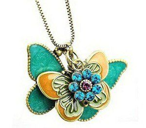 Vintage retro multilayer butterfly necklace with charms