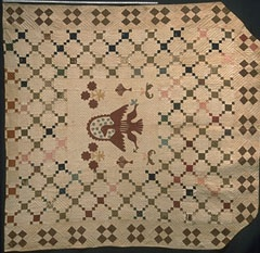 Patriotic Quilts -   National symbols such as stars, stripes, and eagles were used in American quilts throughtout the 19th century.