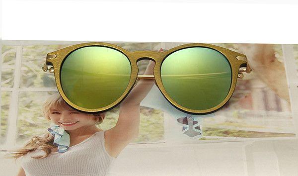 2016 newly round women sunglasses, fashion brand design Imitation wood frame sunglasses oculos de sol masculino