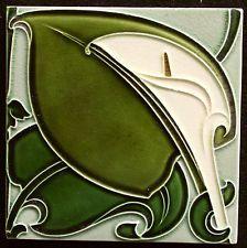 Alfred Meakin Art Nouveau tile made C1905 original UK41 Calla Flower ENGLAND