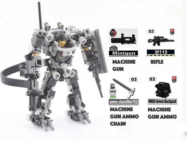 details about lego moc custom heavy armour exo suit full weaponry base big figure combat mech
