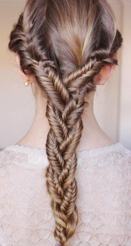 Fish Tail! How to: Seperate your hair into three sections, and fishtail each of them. After that, take and CAREFULLY braid them together. It's that easy!