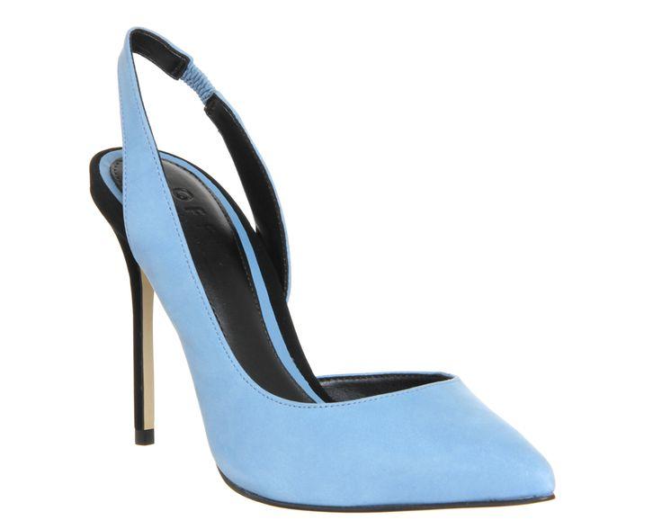 Office Premiere Slingback Dorsay Point Ice Blue Black Nubuck - High Heels