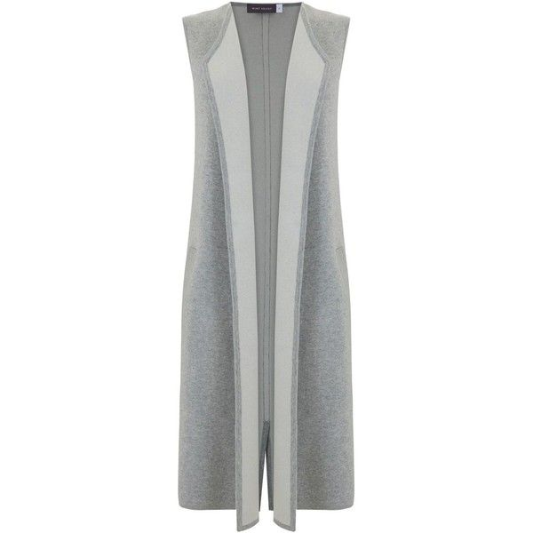 Mint Velvet Silver Grey Longline Waistcoat (9.325 RUB) ❤ liked on Polyvore featuring outerwear, vests, grey, women, silver vest, grey waistcoat, long line vest, mint velvet and gray vest
