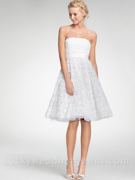 Flattering Strapless Embroidered  Tea Length Dress