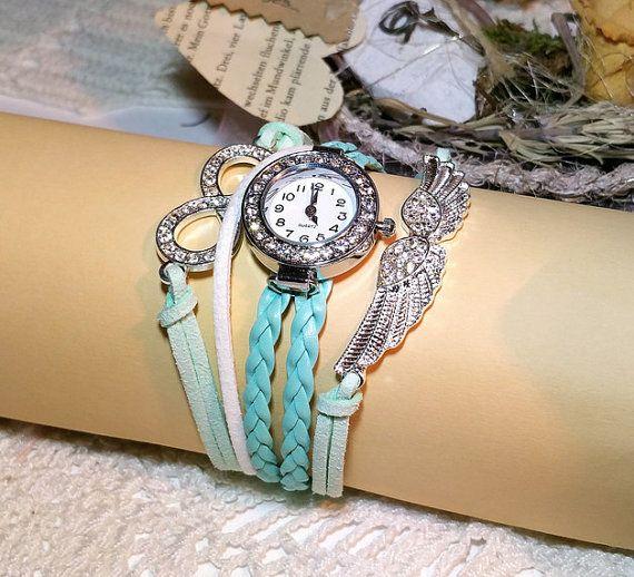 Lederarmband-Uhr Liebeszauber 185 cm türkis CA128 von Schmuckbaron