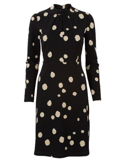 Polkadot jurk met lange mouwen Zwart