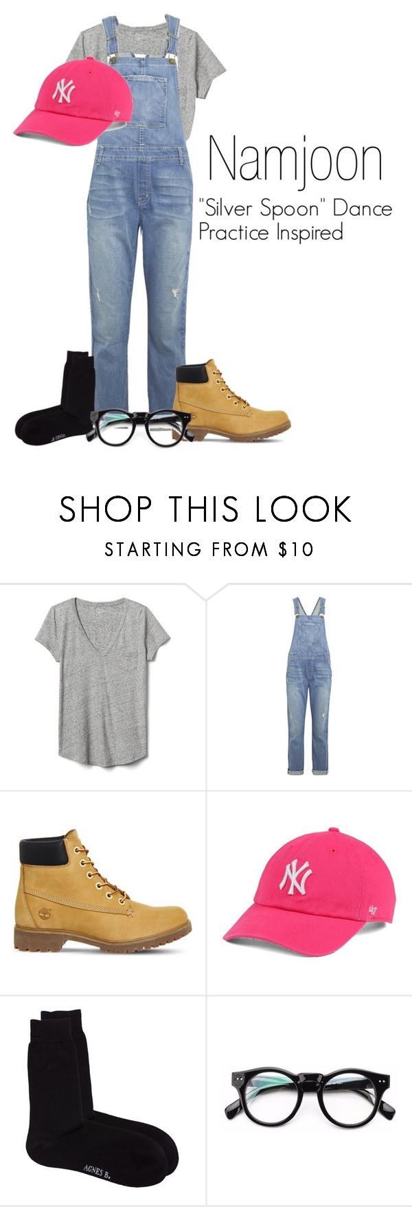 """Namjoon's ""Silver Spoon"" Dance Practice Inspired Outfit"" by mochimchimus on Polyvore featuring Gap, Current/Elliott, Timberland, '47 Brand, agnès b. and bts"